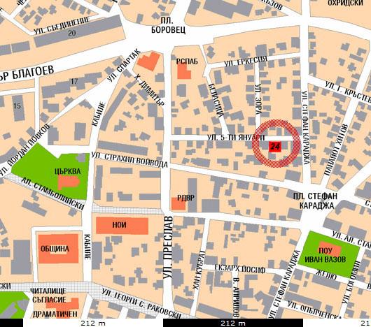 """Карта с местонахождението на офиса на фирма """"Aктив"""" ЕооД"""
